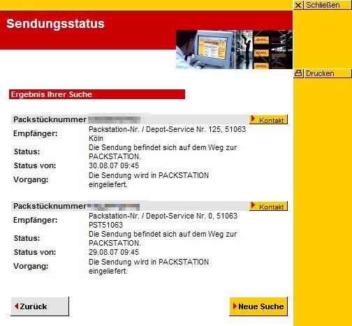 Screenshot DHL-Sendungsverfolgung