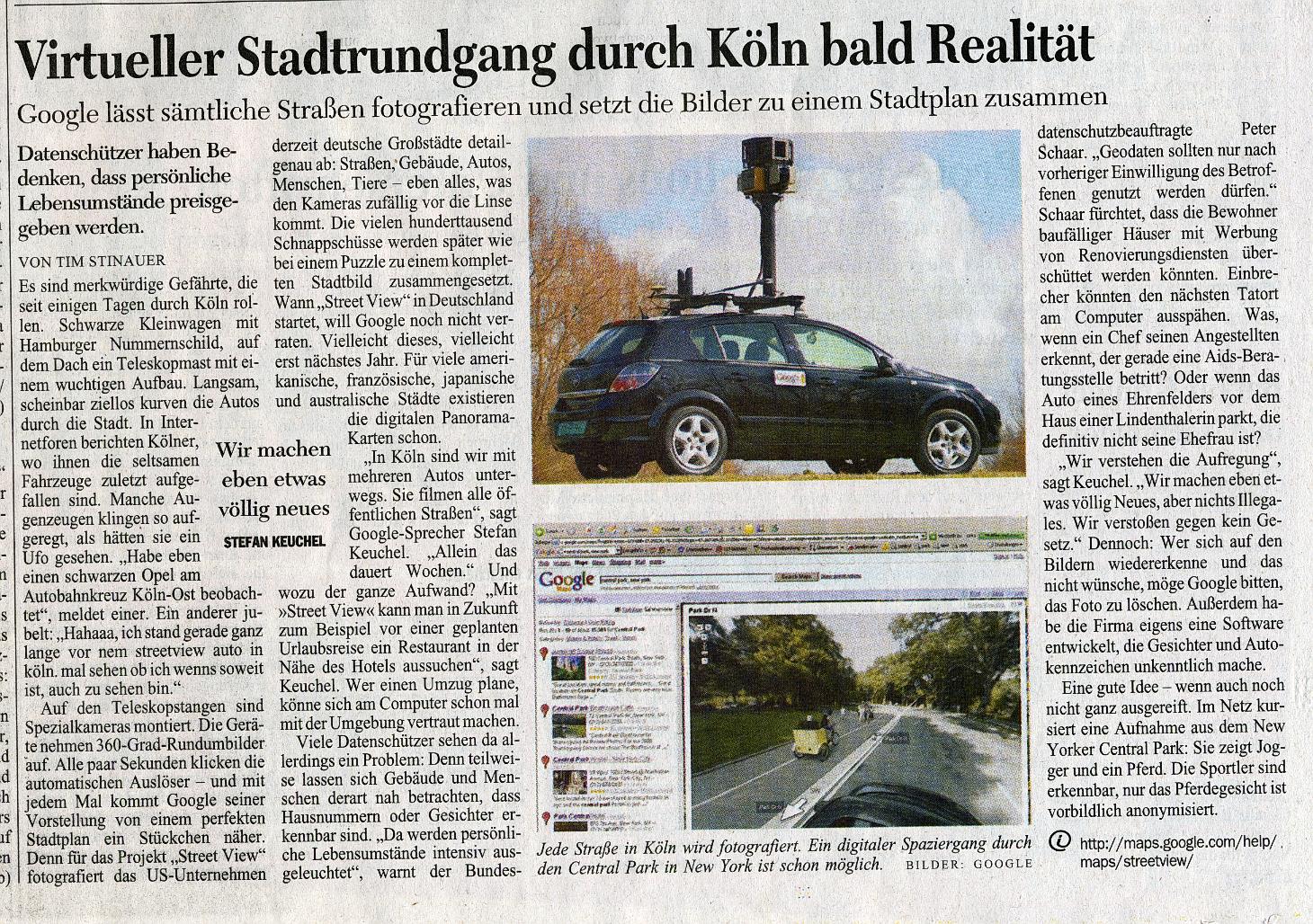 Ausriss aus dem Kölner Stadtanzeiger vom 28.08.2008